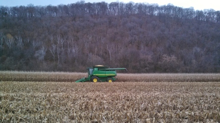 Dave Hach, Muscoda, WI harvesting with 9650 along the Wisconsin River Bluffs