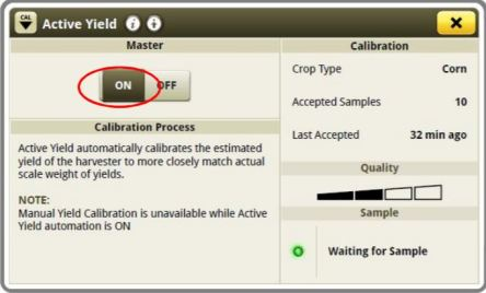 Active Yield Calibration Screen